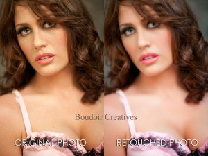 Before and After Retouching Boudoir Photo